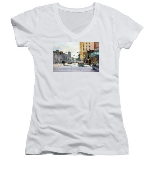 Heading West On College Avenue - Appleton Women's V-Neck (Athletic Fit)