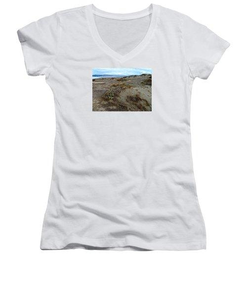 Headlands Mackerricher State Beach Women's V-Neck T-Shirt (Junior Cut) by Amelia Racca