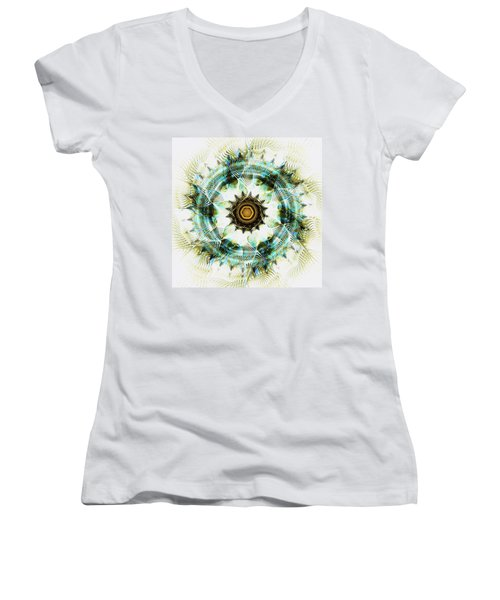 Women's V-Neck T-Shirt featuring the digital art Healing Energy by Anastasiya Malakhova