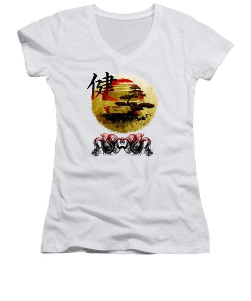 Health Oriental Symbol Women's V-Neck T-Shirt (Junior Cut) by Robert G Kernodle