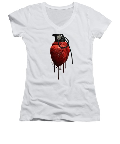 Heart Grenade Women's V-Neck T-Shirt