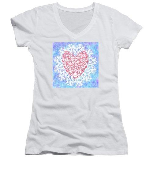 Heart In A Snowflake II Women's V-Neck T-Shirt (Junior Cut) by Lise Winne