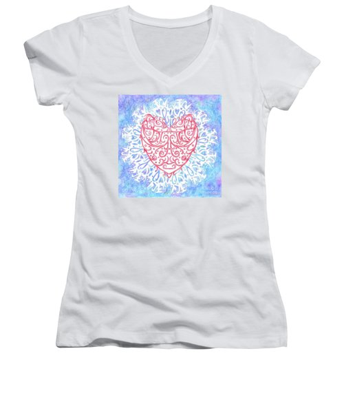Heart In A Snowflake II Women's V-Neck