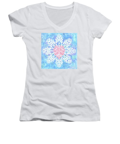 Heart In Snowflake Women's V-Neck