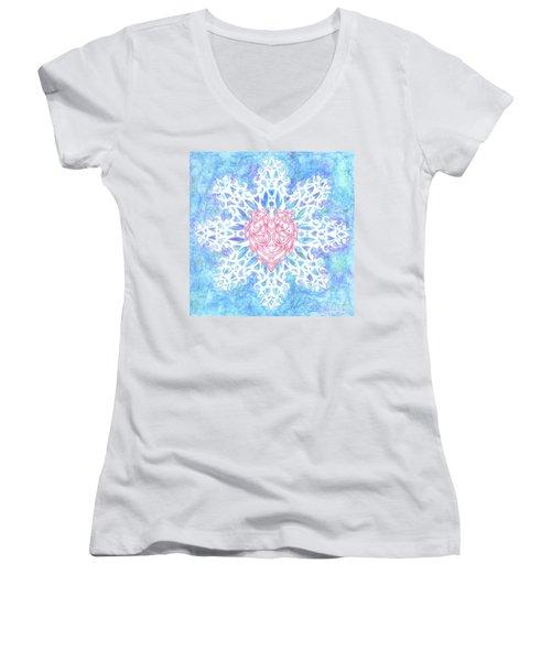 Heart In Snowflake Women's V-Neck