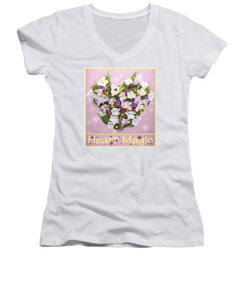 Women's V-Neck T-Shirt (Junior Cut) featuring the digital art Heart Magic by Lise Winne