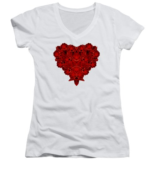 Heart Of Flowers T-shirt Women's V-Neck T-Shirt (Junior Cut) by Edward Fielding