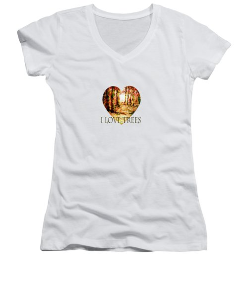 Heart Of The Forest-abstract Painting By V.kelly Women's V-Neck (Athletic Fit)