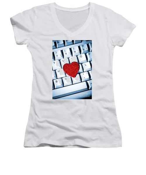 Heart On Keyboard Women's V-Neck T-Shirt