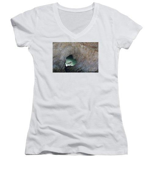 Heart Rock Otter Women's V-Neck T-Shirt