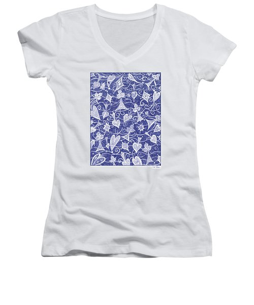 Hearts, Spades, Diamonds And Clubs In Blue Women's V-Neck