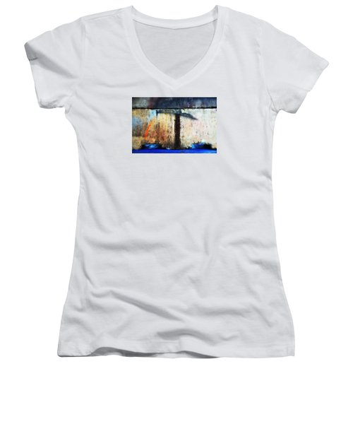 Women's V-Neck T-Shirt (Junior Cut) featuring the photograph Heavy Wait by Newel Hunter