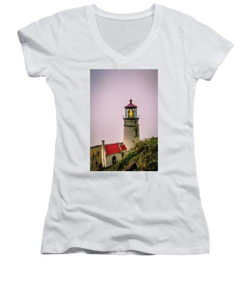 Heceta Head Lighthouse In The Fog Women's V-Neck