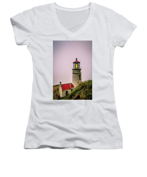 Heceta Head Lighthouse In The Fog Women's V-Neck T-Shirt