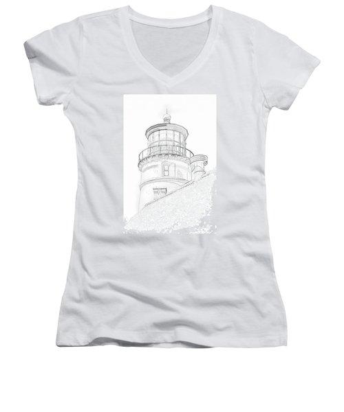 Hecitia Head Lighthouse Sketch Women's V-Neck