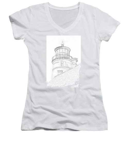 Hecitia Head Lighthouse Sketch Women's V-Neck (Athletic Fit)