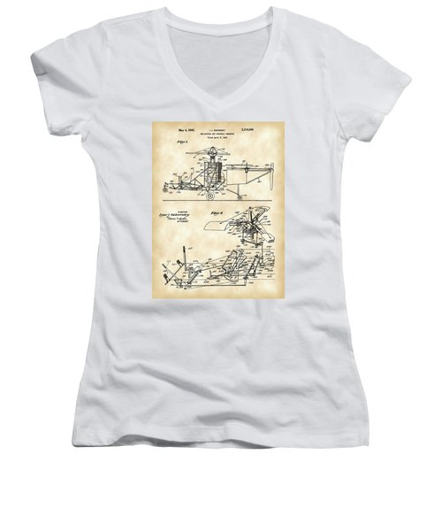 Helicopter Patent 1940 - Vintage Women's V-Neck T-Shirt (Junior Cut) by Stephen Younts