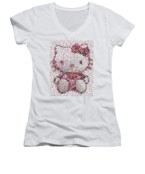 Hello Kitty Button Mosaic Women's V-Neck T-Shirt