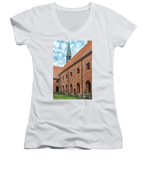 Women's V-Neck T-Shirt (Junior Cut) featuring the photograph Helsingor Saint Mary Church by Antony McAulay