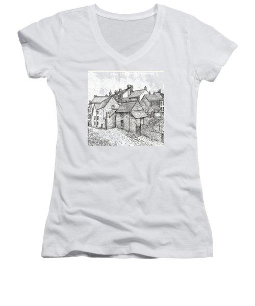 Women's V-Neck T-Shirt (Junior Cut) featuring the drawing Hemsley Village - In Yorkshire England  by Carol Wisniewski
