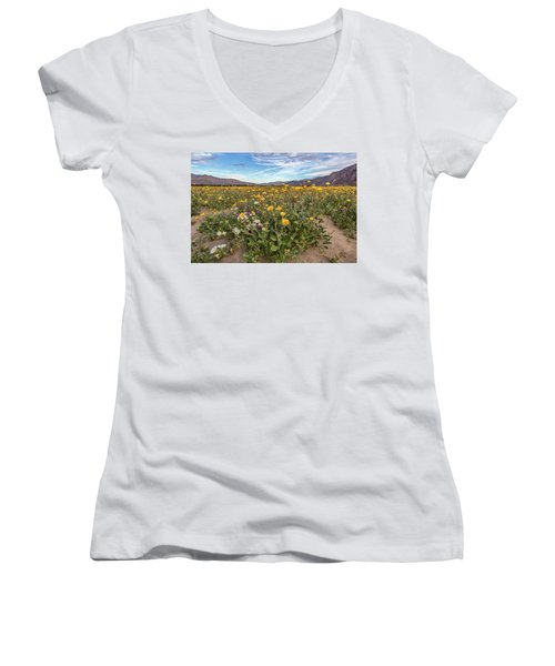 Women's V-Neck T-Shirt (Junior Cut) featuring the photograph Henderson Canyon Super Bloom by Peter Tellone