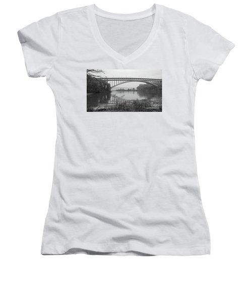 Henry Hudson Bridge  Women's V-Neck T-Shirt
