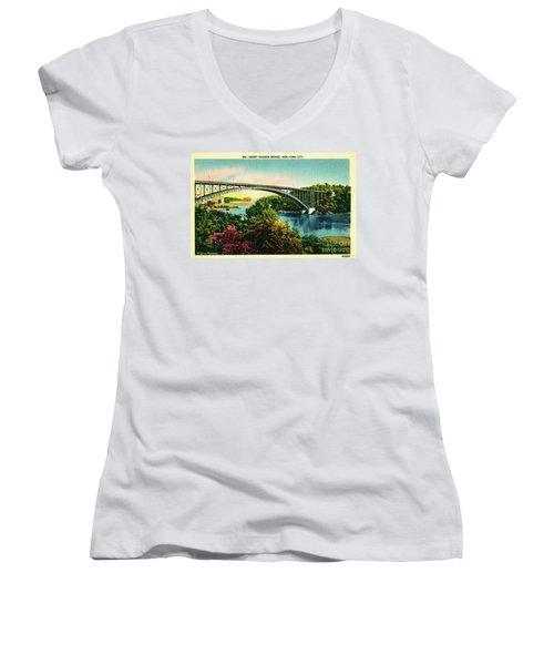 Henry Hudson Bridge Postcard Women's V-Neck T-Shirt (Junior Cut) by Cole Thompson