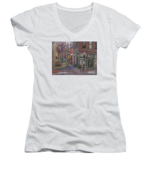 Women's V-Neck T-Shirt (Junior Cut) featuring the painting Henry's by Donald Maier