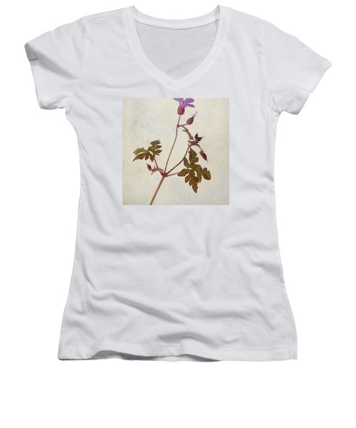 Herb Robert - Wild Geranium  #flower Women's V-Neck T-Shirt (Junior Cut) by John Edwards