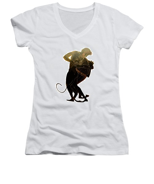 Hercules And The Nemean Lion Women's V-Neck T-Shirt