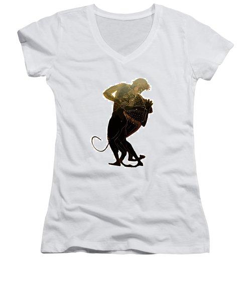 Hercules And The Nemean Lion Women's V-Neck T-Shirt (Junior Cut) by Tracey Harrington-Simpson