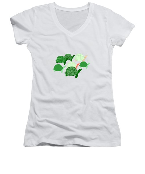Herd Of Turtles Pattern Women's V-Neck T-Shirt (Junior Cut) by Methune Hively