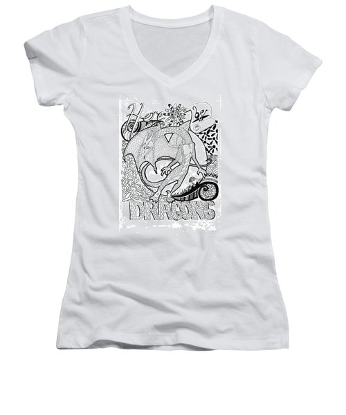 Women's V-Neck T-Shirt (Junior Cut) featuring the drawing Here Be Dragons by Wendy Coulson