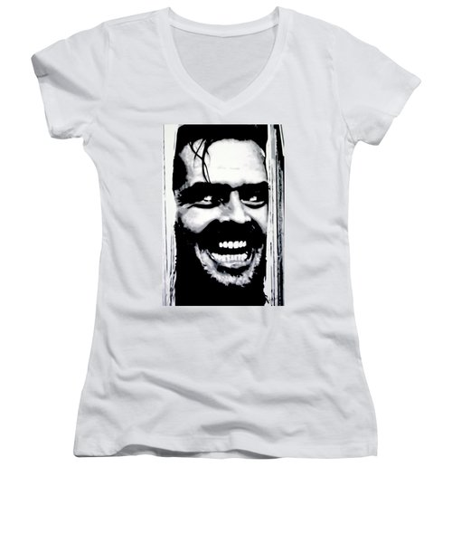 Heres Johnny Women's V-Neck (Athletic Fit)