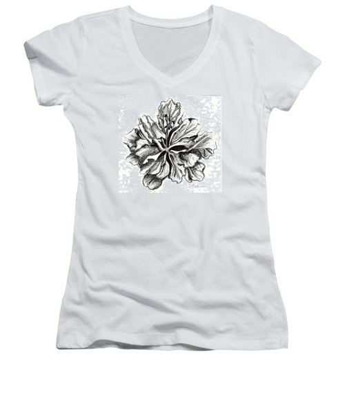 Hibiscus Bloom Women's V-Neck (Athletic Fit)