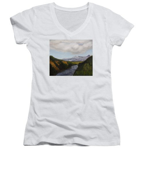 Hidden Mountains Women's V-Neck T-Shirt (Junior Cut) by Alan Mager