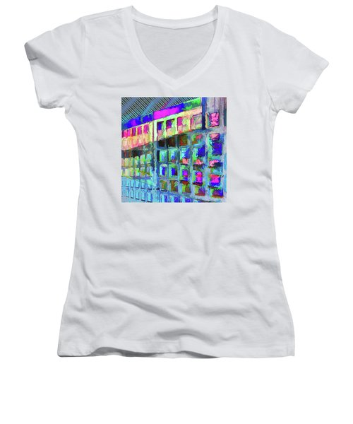 Women's V-Neck T-Shirt featuring the digital art Hide And Seek by Wendy J St Christopher