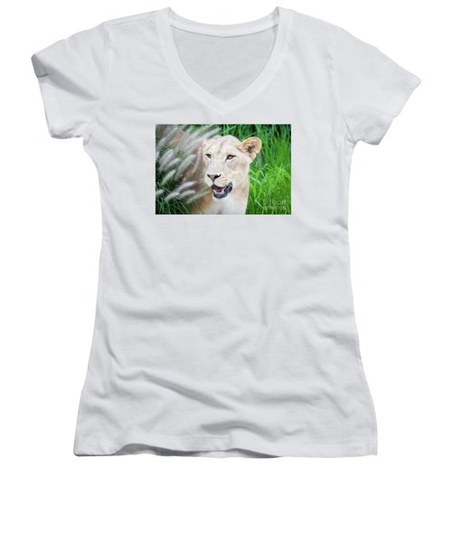 Hiding In Grass Women's V-Neck (Athletic Fit)