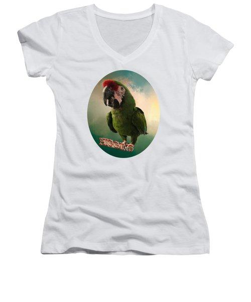 Higgins Women's V-Neck T-Shirt (Junior Cut) by Zazu's House Parrot Sanctuary