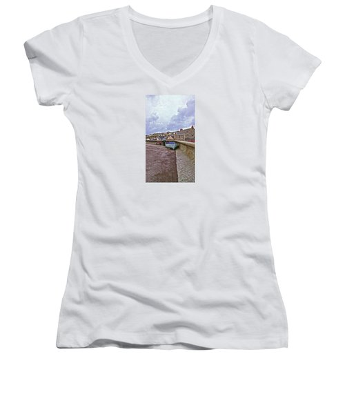 Women's V-Neck T-Shirt (Junior Cut) featuring the photograph High And Dry by Anne Kotan