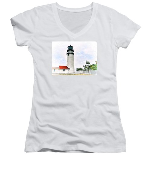 Highland Lighthouse Cape Cod Women's V-Neck T-Shirt (Junior Cut) by Marianne Campolongo