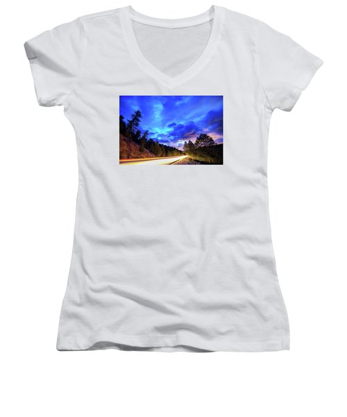 Women's V-Neck T-Shirt (Junior Cut) featuring the photograph Highway 7 To Heaven by James BO Insogna