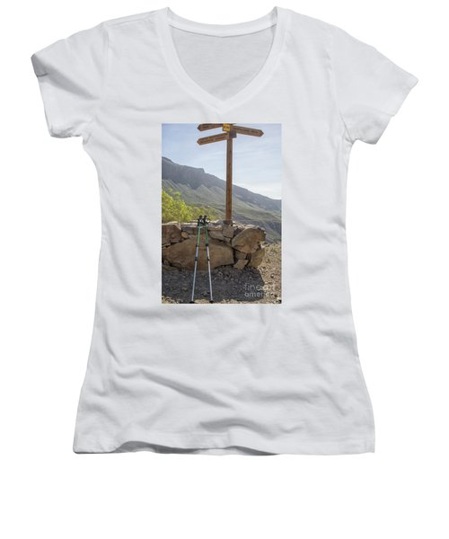 Hiking Poles Resting Near Sign Women's V-Neck T-Shirt (Junior Cut) by Patricia Hofmeester
