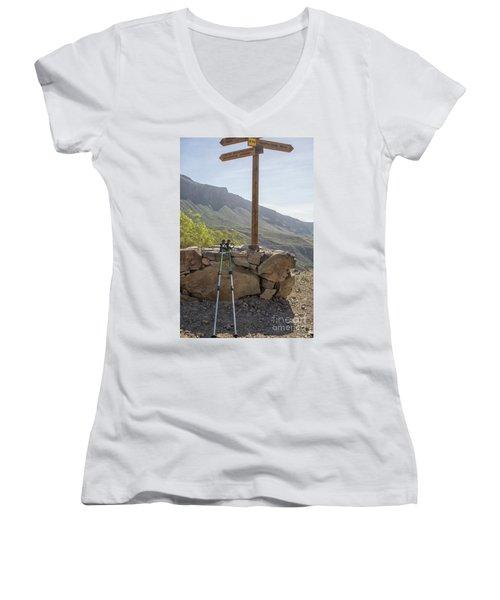 Hiking Poles Resting Near Sign Women's V-Neck T-Shirt