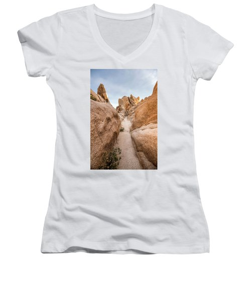 Hiking Trail In Joshua Tree National Park Women's V-Neck (Athletic Fit)