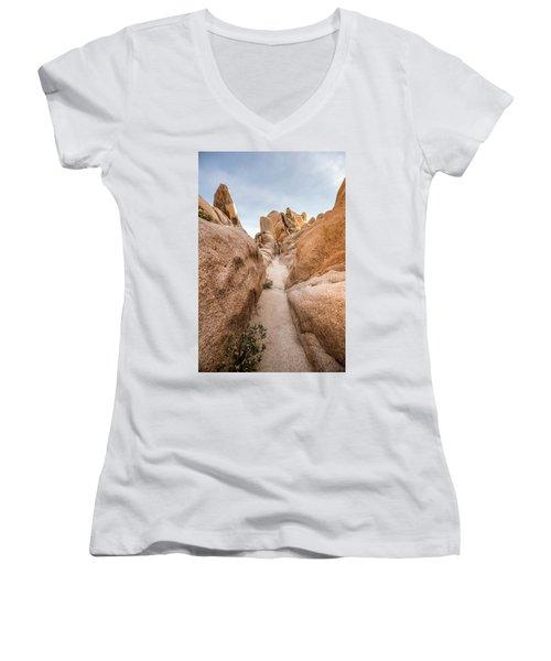 Hiking Trail In Joshua Tree National Park Women's V-Neck T-Shirt