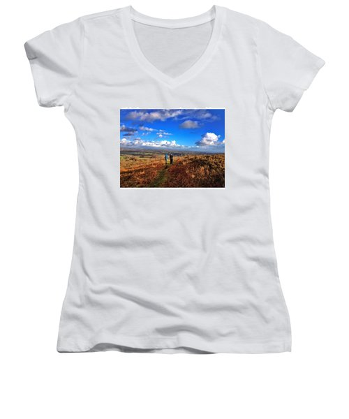 Hiking With College  #college #hike Women's V-Neck