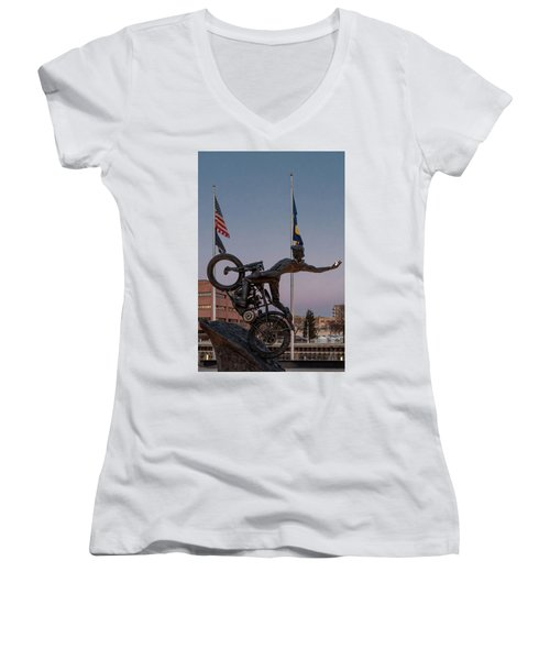Women's V-Neck T-Shirt (Junior Cut) featuring the photograph Hill Climber Catches The Moon by Randy Scherkenbach
