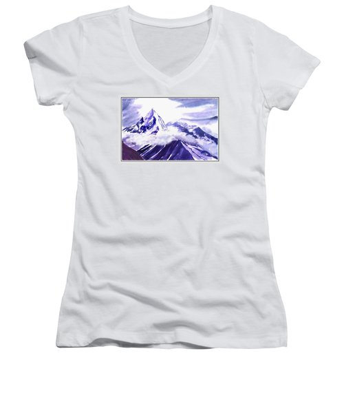 Himalaya Women's V-Neck T-Shirt (Junior Cut) by Anil Nene