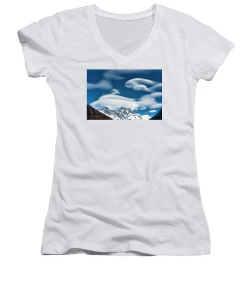 Women's V-Neck (Athletic Fit) featuring the photograph Himalayan Sky by Dan McGeorge